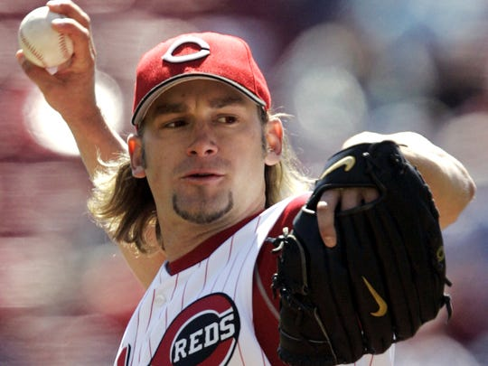 Cincinnati Reds pitcher Bronson Arroyo throws against the Chicago Cubs in the first inning of their baseball game, Wednesday, April 5, 2006, in Cincinnati. Arroyo was the winning pitcher, and added a solo home run, in the Reds 8-6 win. (AP Photo/Al Behrman)