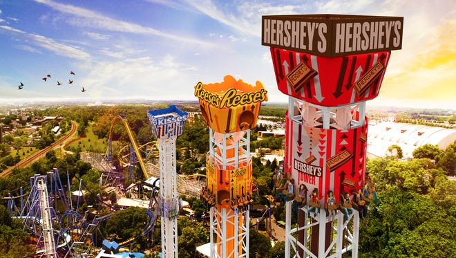 An artist's rendering of the newest Hersheypark attraction for 2017, the Triple Tower which was unveiled on Tuesday, August 2, 2016.