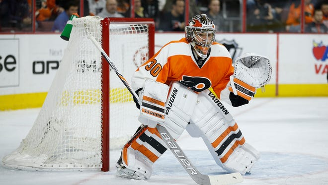 Flyers goalie Michal Neuvirth in action against the Arizona Coyotes on Saturday.