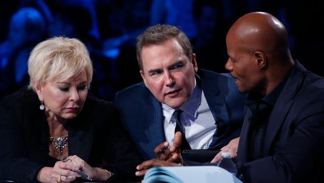 Last Comic Standing judges Roseanne Barr, Norm Macdonald, and Keenen Ivory Wayans.