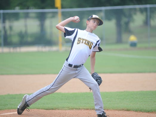 Tri-County's Gabe Lawrence pitches on Friday in first-round action of the Cal Ripken Baseball 12-year-old Southwest Regional Tournament at Clysta Willett Park.