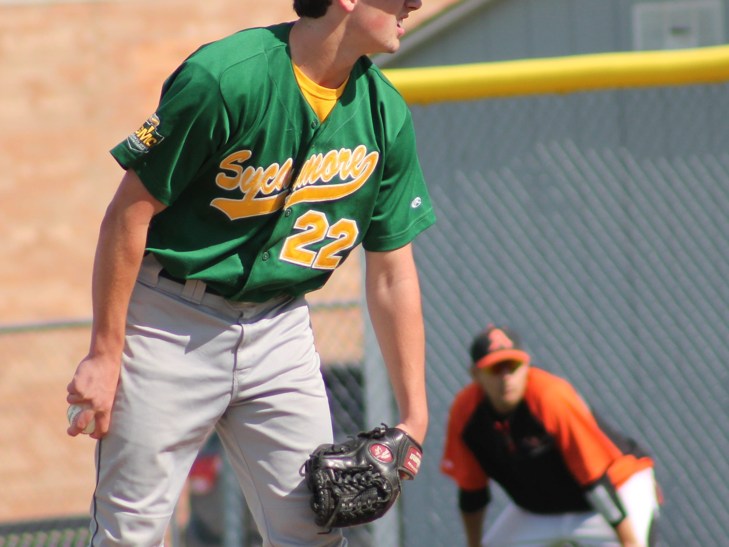 Sophomore pitcher Victor Garnica eyes the sign against Anderson May 12.