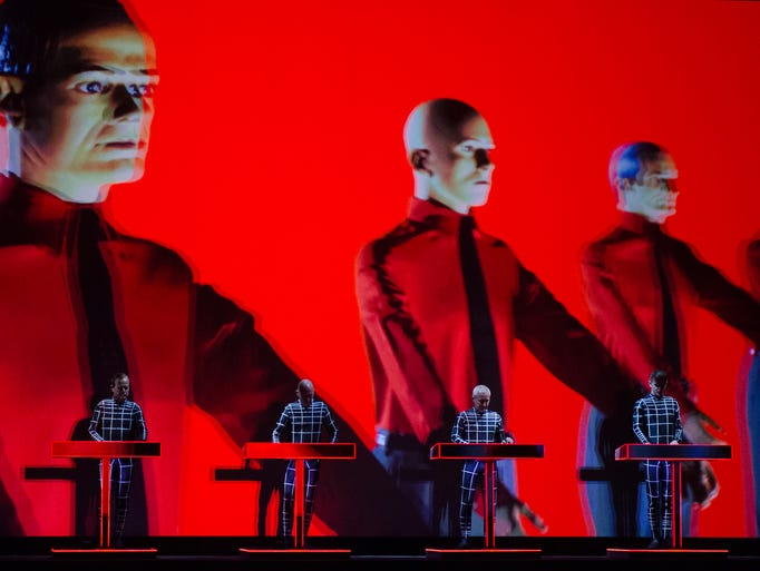 First of three 3D Kraftwerk performances at Moogfest. Audience members received 3D glasses to wear during the show. 4/24/14