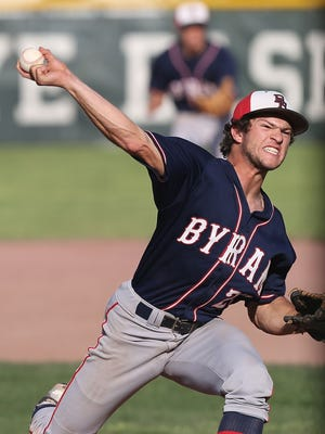 Byram Hills' Frank Vesuvio threw a five-hitter with nine strikeouts in a 15-2 victory at Rye on Tuesday.