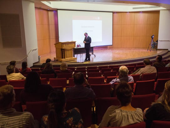 Robert Marley, one of the candidates for New Mexico State University chancellor, speaks at a public forum at Corbett Center, Thursday April 24, 2018.