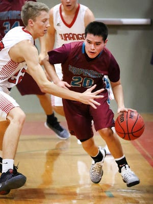 Shiprock's Kevin Begay dribbles around the Durango defense on Tuesday at Durango High School in Durango, Colo.