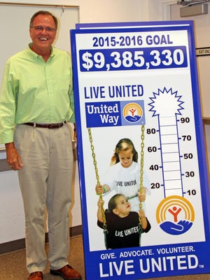 David Fry poses with the United Way 2015-2016 goal thermometer.