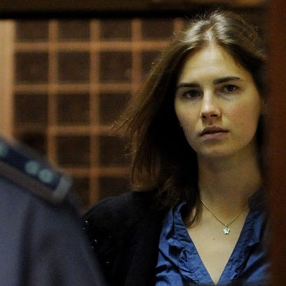 Amanda Knox arrives in court in Perugia, Italy, on