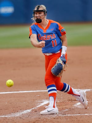 Florida's Kelly Barnhill throws a pitch during the first inning against LSU at the Women's College World Series.
