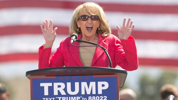 Former Arizona Governor Jan Brewer at a Trump rally