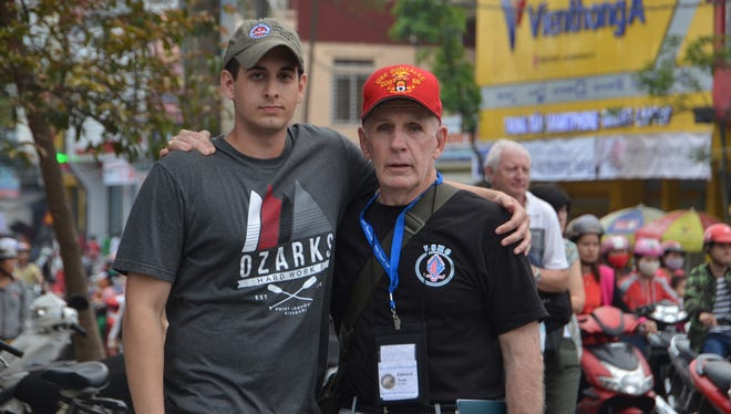 Eddie Neas and C of O student Grant Talburt pose for a picture together while in Vietnam on the College of the Ozarks Patriotic Education Travel Trip in 2016.