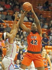 UTEP forward Tamara Seda, 42, takes a short shot at