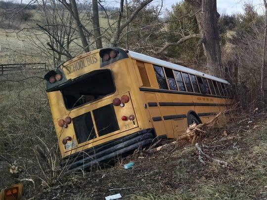 An Augusta County school bus went off Long Meadow Road
