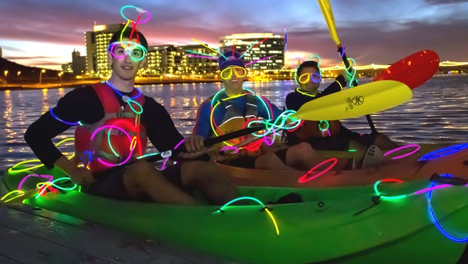Glow and glide across the water on Friday nights at Tempe Town Lake when you sign up for a city of Tempe kayaking class.