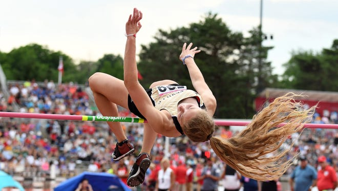 Noblesville's Shelby Tyler competed in the high jump during the girls IHSAA track and field state finals at Robert C. Haugh Track and Field complex in Bloomington, Ind. on Friday, May, 1, 2018.