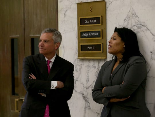 Judge Leticia Astacio and her attorney Edward Fiandach