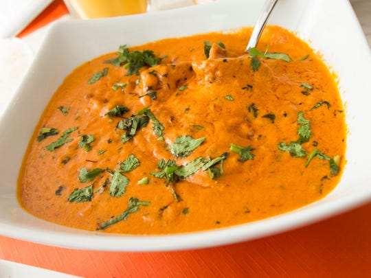 The chicken tikka masala — thick chunks of seared chicken