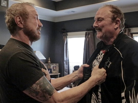 """Dallas Page (left) and Jake Roberts in a scene from """"The Resurrection of Jake the Snake."""""""