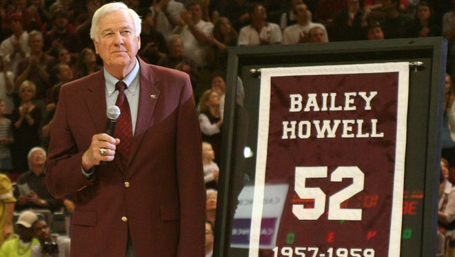 Bailey Howell speaks to the MSU fans after having his number retired and hung from the rafters of the Humphrey Coliseum.