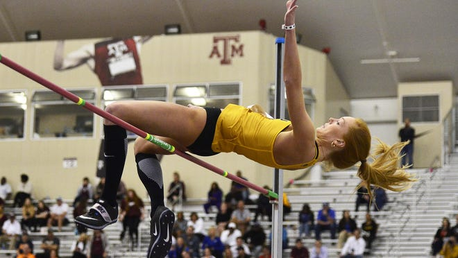 Karissa Roman competes for the University of Missouri during the second day of the Indoor SEC Championships at Gilliam Indoor Track Stadium in College Station, Texas on Feb. 29.