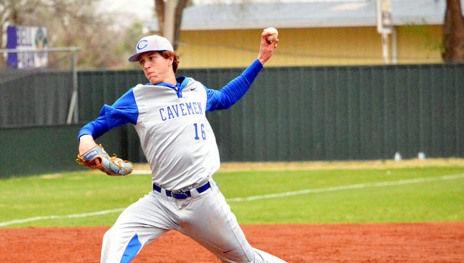 Carlsbad pitcher Trevor Rogers fires a pitch in the opening game of Friday's District 4-6A doubleheader at Bell Park in Clovis.