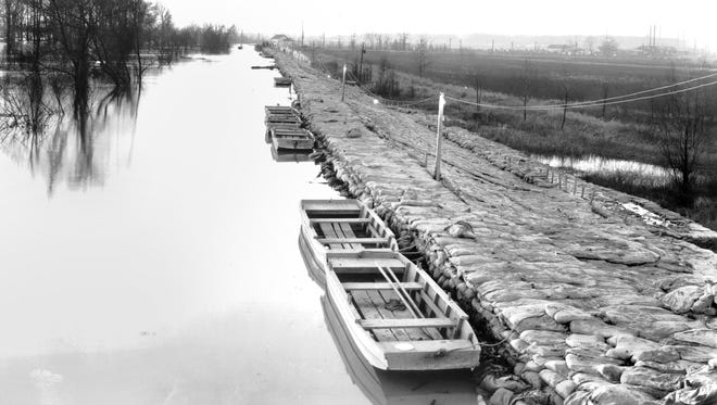 February 10, 1937 - This view of Nonconnah Creek, looking west from the Highway 61 bridge on Feb. 10, 1937, reflects the all-time record Mississippi River stage on the Memphis gauge at 48.7 feet. The river at Memphis had measured 3½ miles wide on Feb. 1. Flood stage in Memphis is 34 feet.