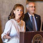 House Speaker Beth Harwell, R-Nashville, speaks during a news conference at the state Capitol in Nashville on Thursday about a health coverage task force's proposals for Medicaid expansion in Tennessee. From right behind her are Republican Reps. Steve McManus of Memphis and Roger Kane of Knoxville.