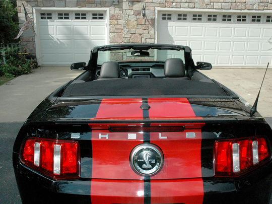 The rare black-and-red Shelby convertible boasts 540 horsepower and a six-speed manual transmission and 17,000 miles. It's up for auction at Barrett-Jackson on Jan.. 27, 2016.