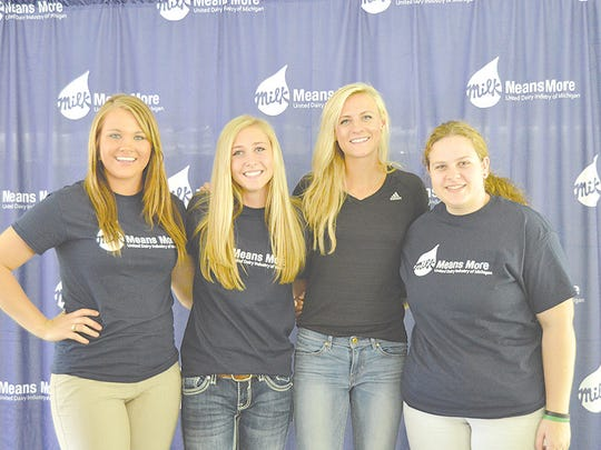 Michigan Dairy Ambassadors were on hand to promote and educate consumers about the dairy industry with Leah O'Connor. From left: Charlie McAlvey, Kristen Burkhardt, Leah O'Connor and Suzanna Hull.