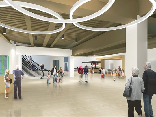 An artist rendering of the anticipated lower lobby for the Cincinnati Museum Center.