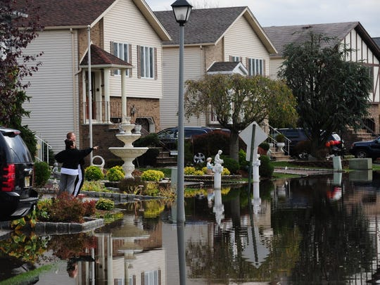 A Flooded steet in Moonachie on Wednesday, October 31, 2012.