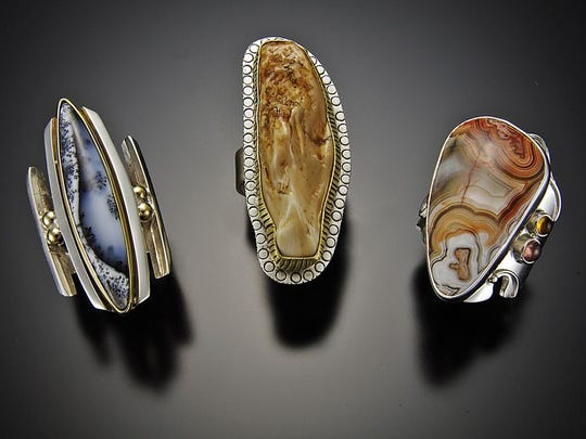 ArtFest By The Sea artwork, Kelley - jewels. CO jeweler Shano Kelley uses natural stones to create striking wearable art.