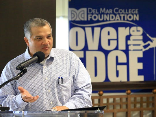 President Mark Escamilla from Del Mar College talks about the Over The Edge Scholarship Fundraiser on Tuesday, June 27, 2017, at the Holiday Inn Corpus Christi Downtown Marina in Corpus Christi.