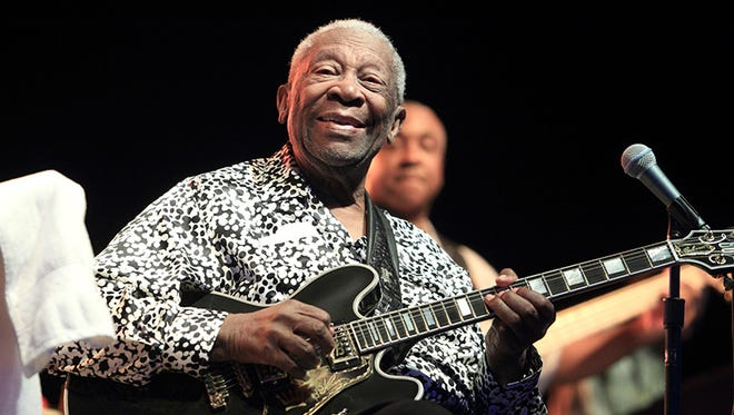 In this Aug. 8, 2013 file photo, Blues music legend B.B. King performs on Frampton's Guitar Circus 2013 Tour at Pier Six Pavilion, in Baltimore.