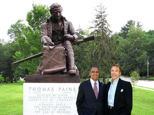 "Upendra Chivukula (left) and Veny Musum are co-authors of the new book ""The 3rd Way: Building Inclusive Capitalism Through Employee Ownership."" ""They chose to pose in front of a statue of Thomas Paine because they believe that a revolution is in order - more precisely, revolutionary thinking about how we approach our current economic challenges."