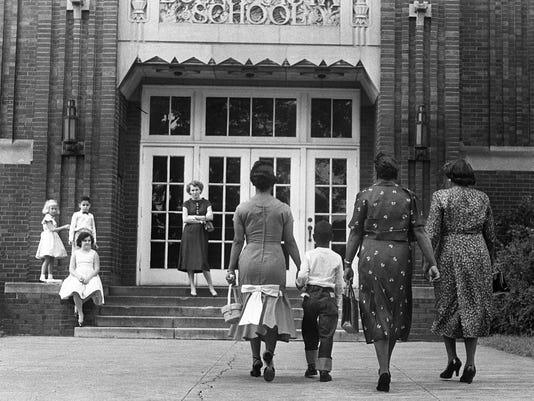 First day of school desegregation in Nashville at Buena Vista School