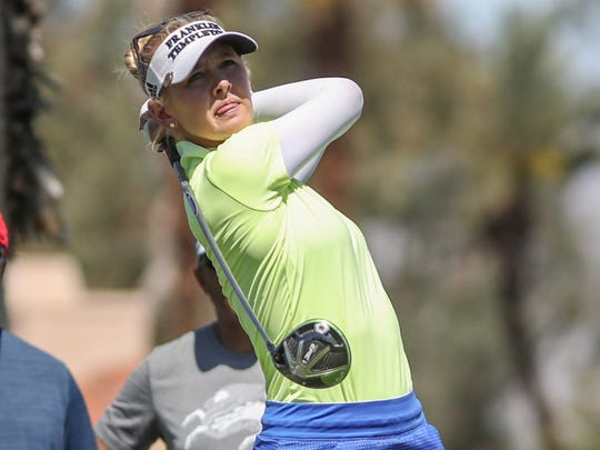 Jessica Korda tees off on the 11th hole at the ANA Inspiration in Rancho Mirage, March 30, 2018.