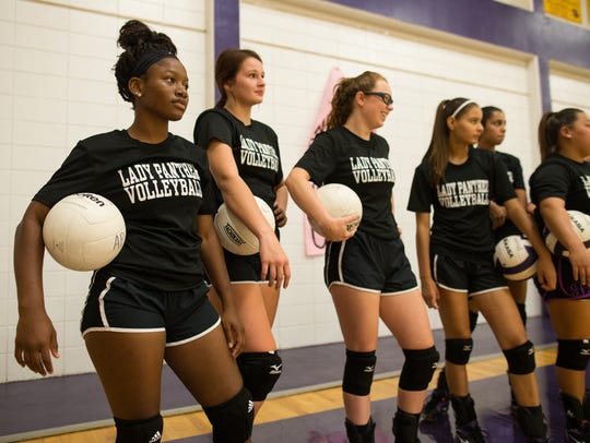 Aransas Pass volleyball players during practice in