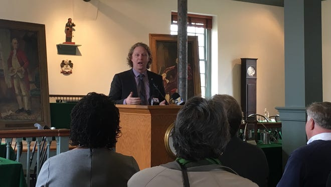 Pennsylvania State Rep. Kevin Schreiber speaks to community members in York City about the celebrations for the 275th anniversary of the community,