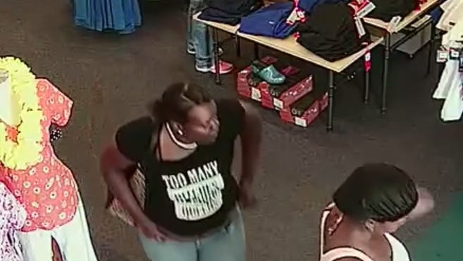 Suspects caught on surveillance video at Scrubs Unlimited.