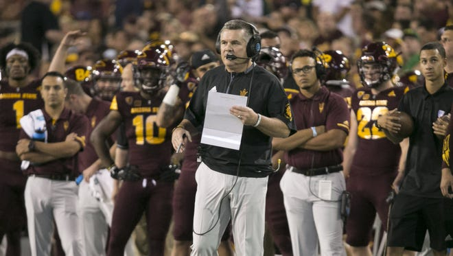 ASU head coach Todd Graham coaches during the first quarter of PAC-12 college football game against Oregon at Sun Devil Stadium in Tempe on Saturday, September 23, 2017.