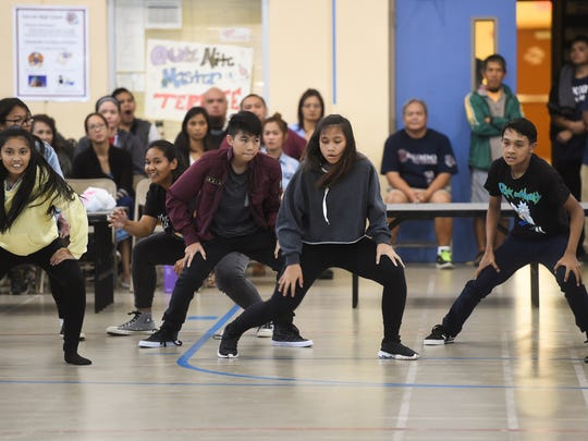 The Okkodo High School freshman class compete during a pep rally dance off at the Okkodo High School gym on April 20, 2018.