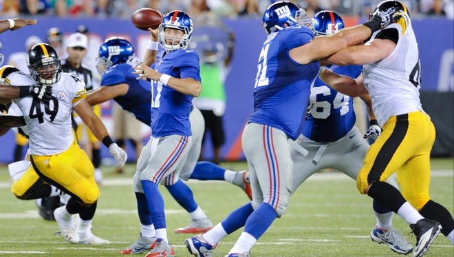 Offensive linemen Dallas Reynolds (61) and Mark Asper (64) pass-protect against the Steelers last Saturday night. Offensive tackle Will Beatty will start  for the Giants this weekend against the Colts, making his preseason debut after breaking his leg last December.