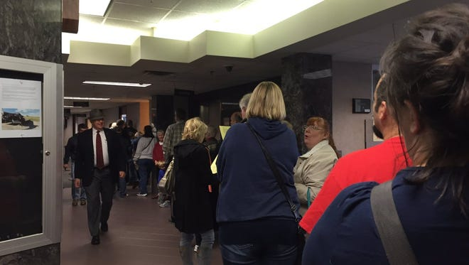 A line forms at the Minnehaha County Auditor's Office on Oct. 24, 2016, the last day that voters can register before election day.