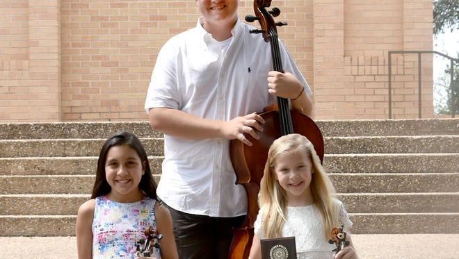 San Angelo Suzuki Strings Studio's students received Superior awards during the Texas Federation of Music Clubs State Contest in May, All State Winners: Valde Tovaas, top row, Intermediate Class II Cello solo division winner; Kayly Chapoy, bottom left, winner of the Primary Class I Violin solo division and Emma Cotton, winner of the Primary Class IV Violin solo division. Not pictured are Daniel Daughtry, winner of the Difficult Class III Cello solo division, Jersey Wyatt, winner of the Medium Class II Violin solo division and Kenadie Wyatt, winner of the Primary Class II Cello solo division.