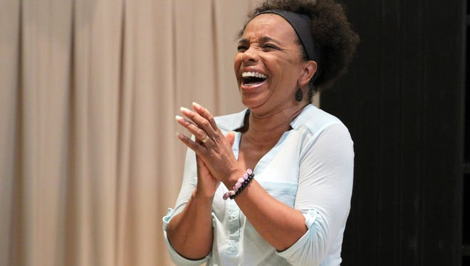 """Debra Walton stars in the Playhouse in the Park's production of Daniel Beaty's """"Mr. Joy."""" She's seen here in rehearsal for the show, in which she plays nine different characters, from a 72-year-old woman to a sassy 11-year-old to a post-op transsexual."""
