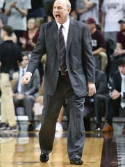 Mississippi State Bulldogs head coach Ben Howland reacts