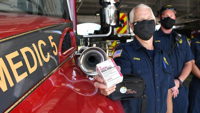 Plain Township Fire and Rescue Chief Charles Shalenberger holds a Narcan kit. Plain Township is the first Stark County fire department to team with Canton City Public Health to distribute the opioid antidote to the public.