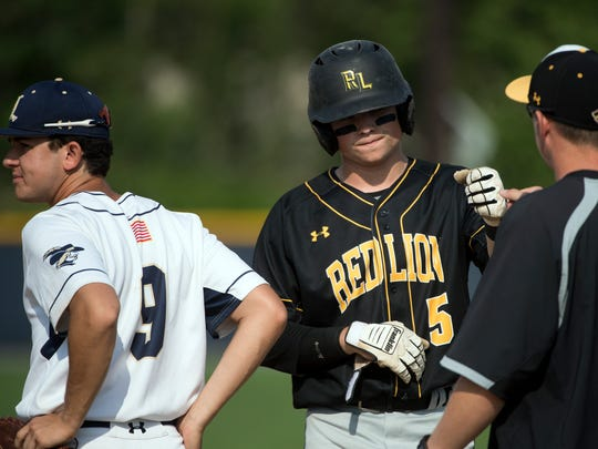 Red Lion's Connor Dewees celebrates a single with his