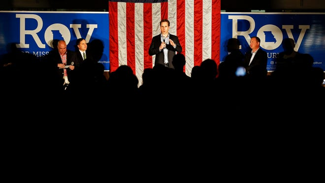 Josh Hawley speaks to a crowd attending a rally in favor of statewide Republican candidates held at National Safety Compliance in Springfield, Mo., on Nov. 2, 2016